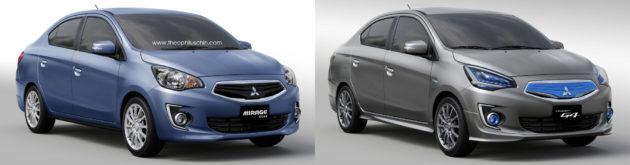 Perbandingan Mitsubishi Mirage sedan dengan Mitsubishi G4 Concept tampak depan