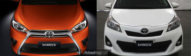 Kiri warna orange Toyota Yaris 2014 versi Asia, kanan warna putih Yaris versi USA
