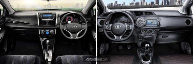 Perbedaan interior Toyota Yaris 2014 versi Asia (kiri) dan versi USA (kanan)