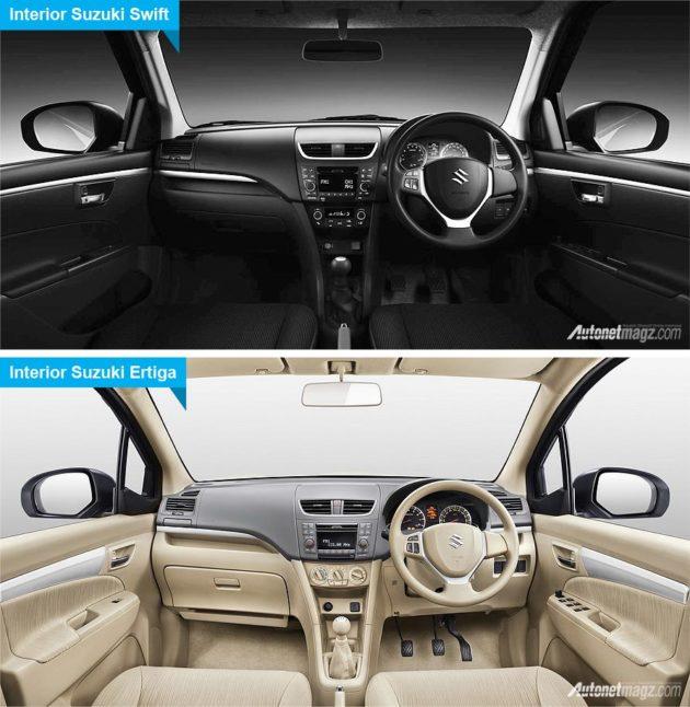 Perbedaan interior Suzuki Swift dan Suzuki Ertiga
