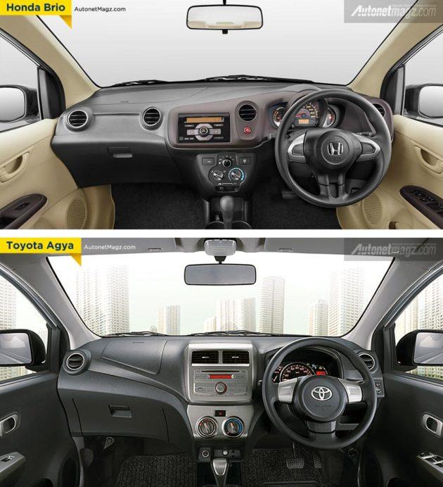 Perbandingan interior Honda Brio dengan Toyota Agya