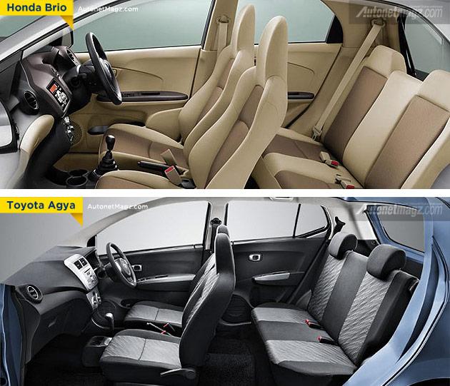 Perbandingan kabin interior Honda Brio dengan Toyota Agya