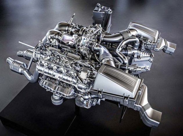 Twin-turbo engine of Mercedes-Benz AMG 4.0 liter V8