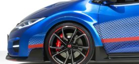 2015 Honda Civic Type R Rear Wings on Blue Painted Body