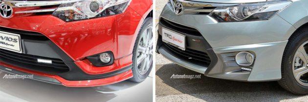 Perbedaan lips spoiler bumper depan Vios TRD Sportivo versi Indonesia dan Malaysia
