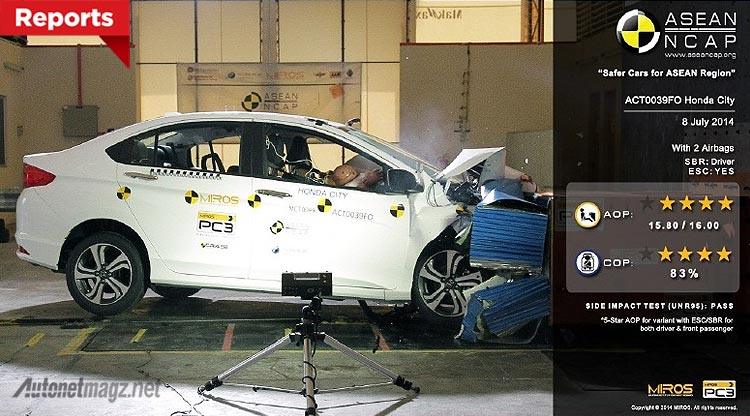 Test uji tabrak Honda City di ASEAN NCAP Award 2014