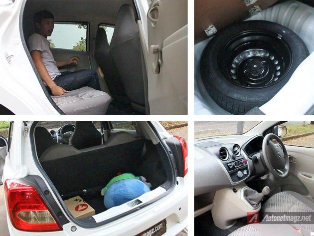 Ruang kabin belakang dan kapasitas bagasi Datsun GO hatchback LCGC