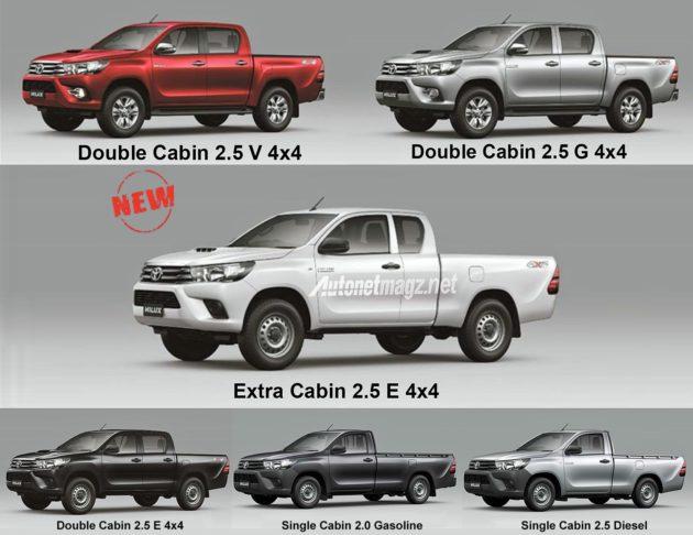 Tipe dan varian Toyota Hilux baru all new 2015 facelift