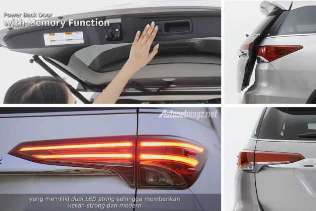 Lampu LED stripe dan Power back door fitur Fortuner baru 2016