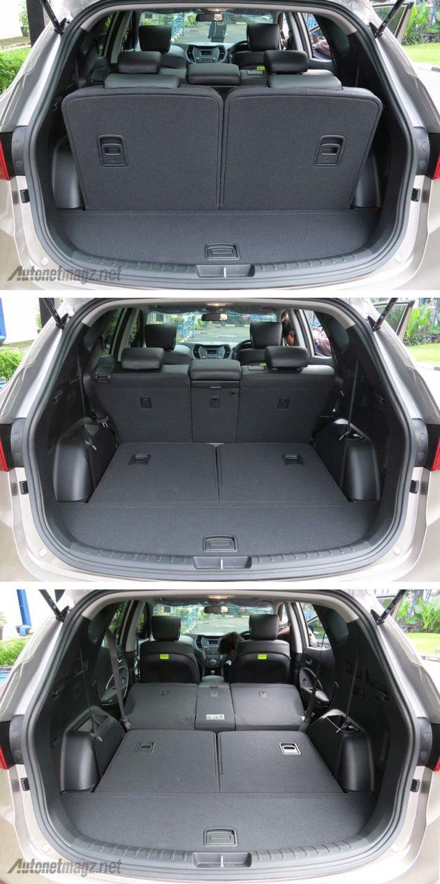Bagasi dan pelipatan jok baris ke 2 dan 3 Hyundai Santa Fe