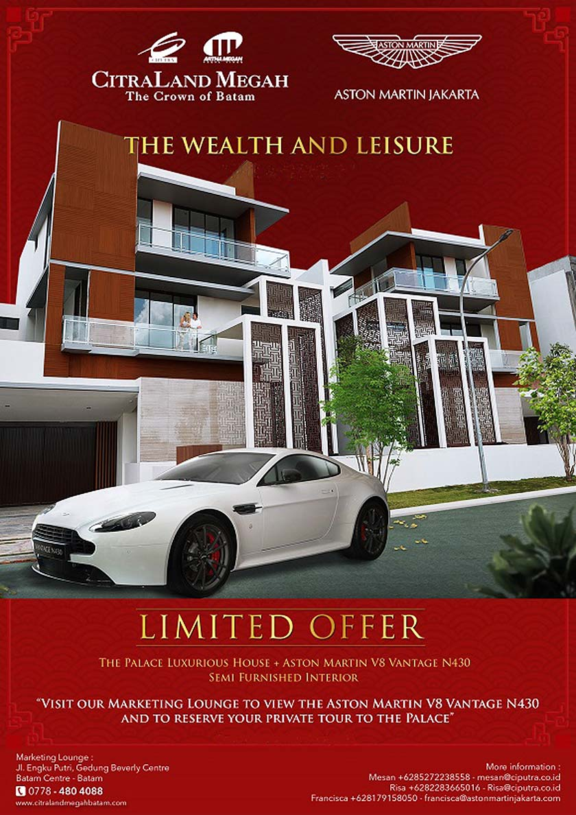 Buy house get car - The Palace Batam and Aston Martin