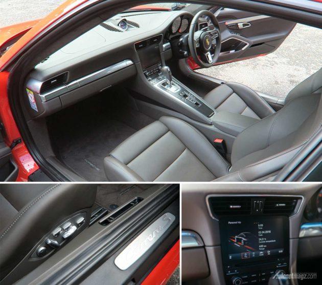 Kabin Porsche 911 Carrera S cockpit jok bucket seat dan head unit
