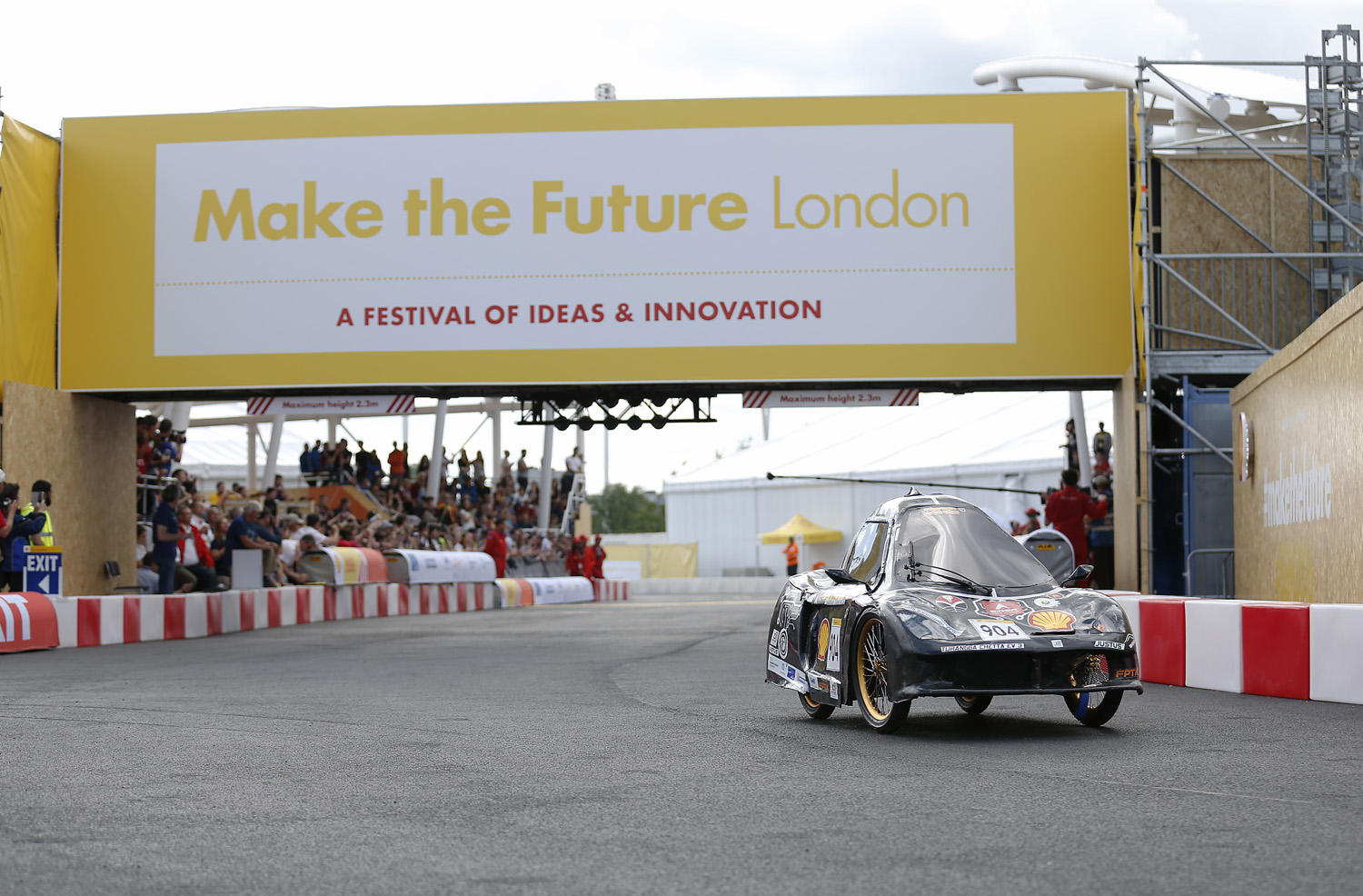 The TURANGGA CHETA EV3, #904, a battery electric UrbanConcept racing for team BUMI SILIWANGI TEAM 4 from Universitas Pendidikan Indonesia, Bandung, Indonesia on the track during Make the Future London 2016 at the Queen Elizabeth Olympic Park, Sunday, July 3, 2016 in London, UK. Today marks the conclusion of the very first Drivers' World Championships, as a head to head race against the 2016 UrbanConcept winners from North America, Asia and Europe to find the quickest and most energy-efficient driver. (Guy Levy for Shell)